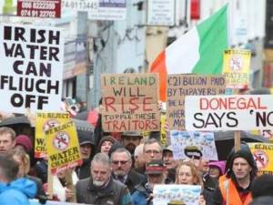 Demonstrators from across Ireland gather in protest.